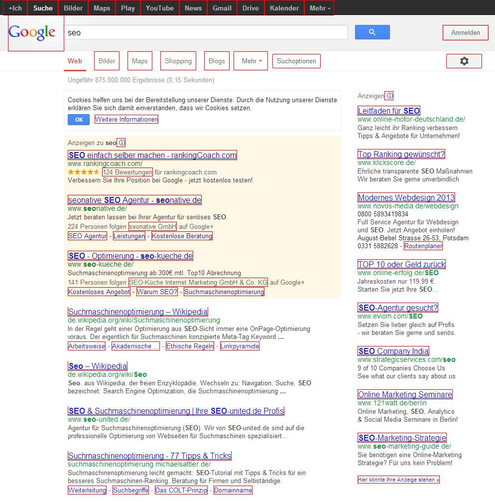 Links in den Suchergebnisseiten von Google