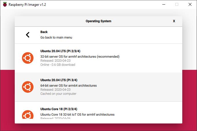 Ubuntu 20.04 / Raspberry Pi Imager.