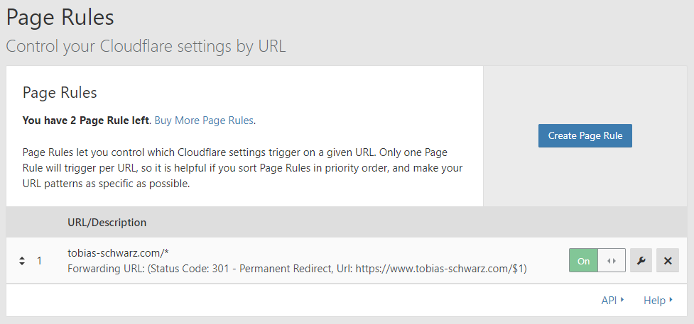 Cloudflare Page Rules settings