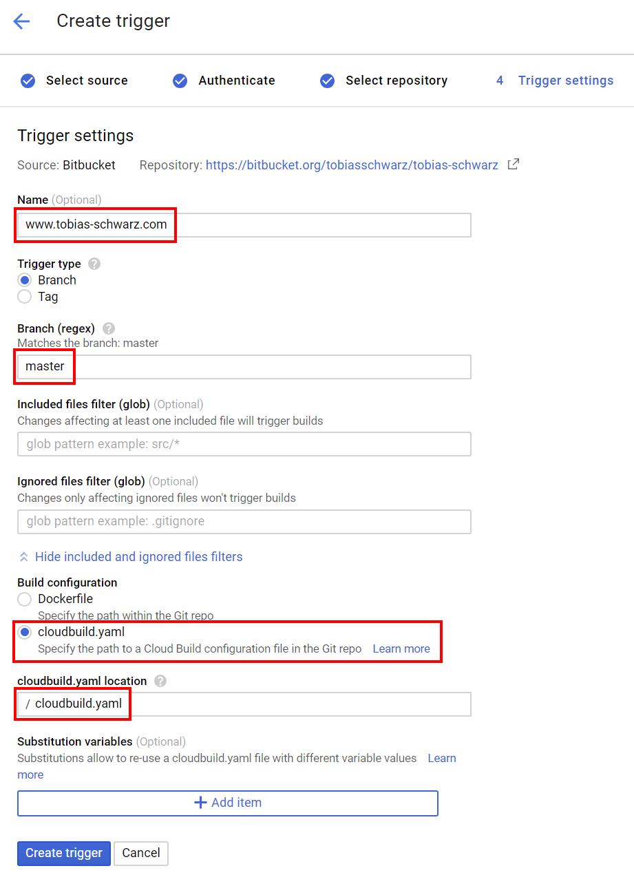 Google Cloud - Build Trigger Settings