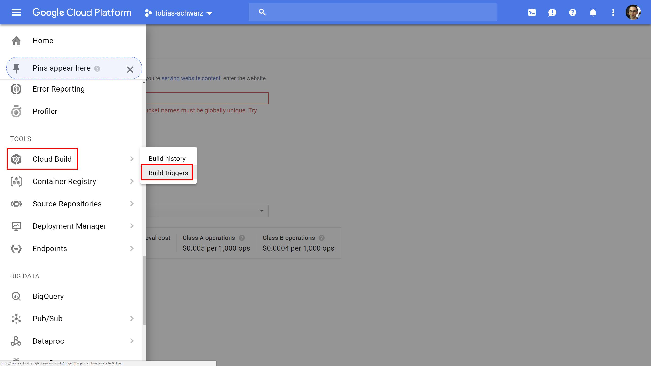 Google Cloud - Build Trigger