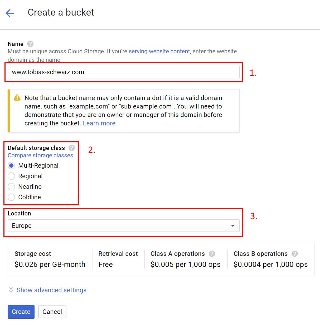 Google Cloud Space - Create Bucket