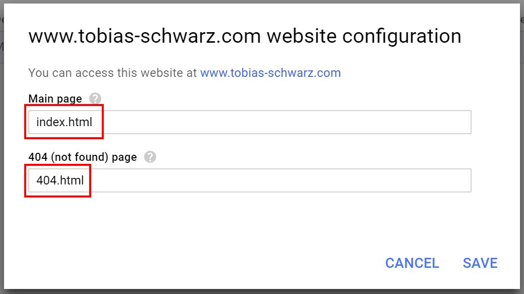 Google Cloud Space - website configuration